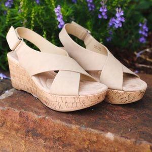 Nude Slingback Platform Cork Wedge Sandals